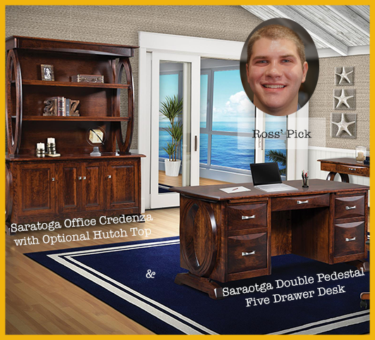 Finance Manager Ross' Picks: Saratoga Double Pedestal Five Drawer Desk with Finished Backside and Curved Top and Saratoga Office Credenza with Optional Hutch Top