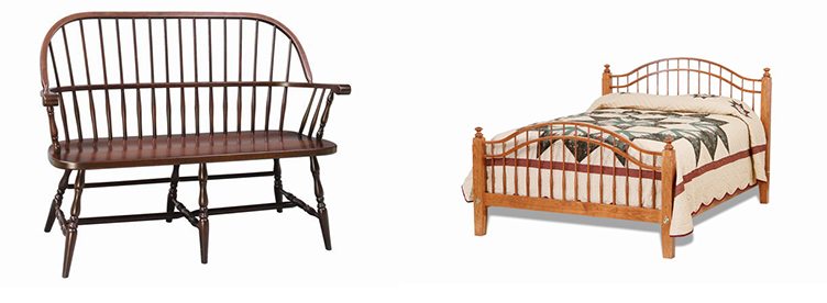 Amish Franklin Sack Back Windsor Bench and Amish Shaker Windsor Bed