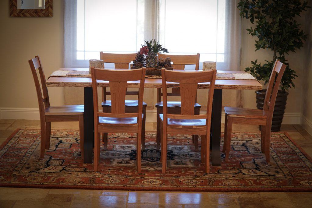 Live Edge Dining Table with Shamrock Base