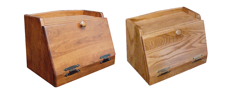 Amish Made Bread Box with Bottom Hinge shown in cherry and oak