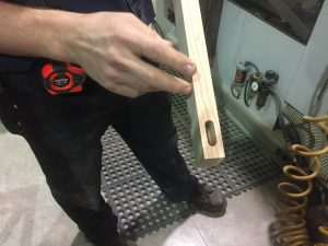 A mortise for a chair leg.