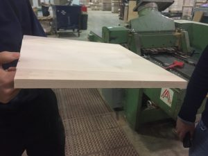 Glued boards for a chair seat.
