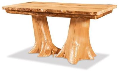 Amish Aspen Double Stump Dining Table