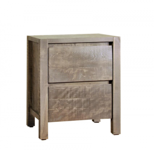 The Ruff Sawn Meta Sequoia Two Drawer Nightstand