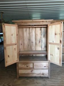 The Rustic Barnwood Wardrobe shows off its natural knots and markings.
