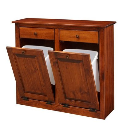 Amish Double Tilt-Out Trash Cabinet