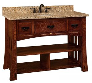 Amish Mesa Mission Single Bathroom Vanity Cabinet with Inlays