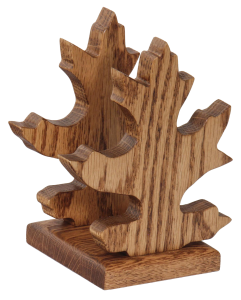 Amish Oak Wood Oak Leaf Shape Napkin or Letter Holder