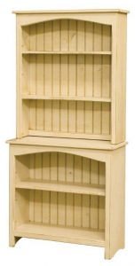 Amish Primitive Pine Bookcase with Hutch