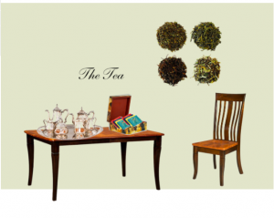 The Tea Table with tea set and assorted teas.