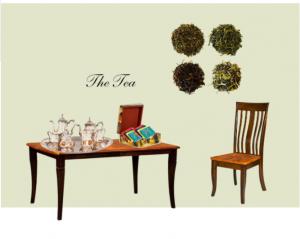The Tea Table with tea set and assorted teas.