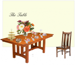 Tea table with teacups, serving dishes, floral arrangement, and napkins.