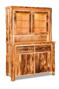 Amish Rustic Aspen Log Hutch