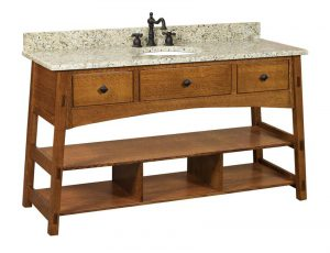 Amish McCoy Mission Open Single Bathroom Vanity Cabinet