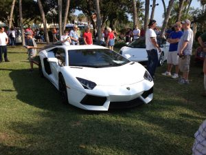 A car show on St. Armands Circle in Sarasota, Florida