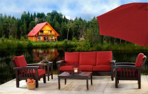 Amish Handcrafted 6 Piece Cypress Patio Mission Sofa Set