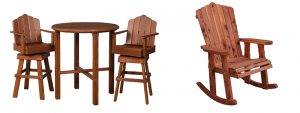 Amish Cedar Wood Bistro Bar Set and Amish Cedar Adirondack Rocker