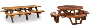 Finch Poly Picnic Table and Amish Cedar Wood Octagon Picnic Table