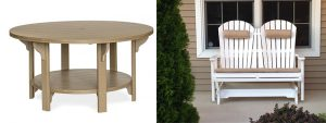 "Amish Outdoor 60"" Round Poly Table with Berlin Gardens Comfo Double Back Glider"