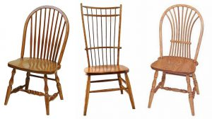 Spindles can be fashioned into wheat back or bird cage designs in Windsor chairs.