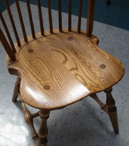 Through tenons exhibit sound construction for the Amish Early American Classic Windsor Dining Chair