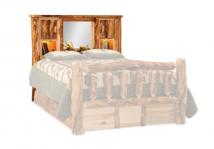 Rustic Aspen Log Bookcase Headboard Only