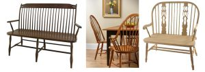 Classic Birdcage Amish Bench, Maple Windsor High Back Chair and Amish Cottage Fiddle Back Windsor Bench.