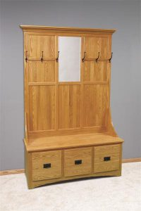 Amish Mission Hall Tree with Storage Bench