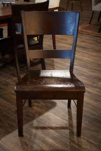 The Amish Genesis Dining Chair at the DutchCrafters showroom in Sarasota, Florida.