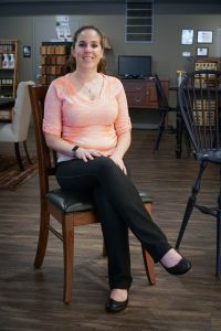 Kari Jo testing the Manchester Dining Chair by Keystone.