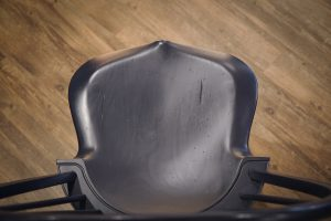 Overhead view of the saddle seat of the Windsor bar stool.