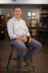 Ross testing the Reproduction Windsor Bar Stool.