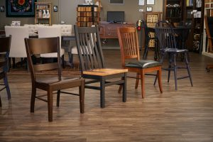 Amish made chairs in the DutchCrafters showroom.