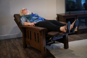 Sara testing the McCoy Mission Recliner.