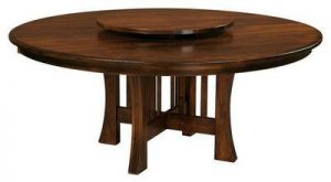 Amish Arts and Crafts X Base Dining Table with Optional Lazy Susan.