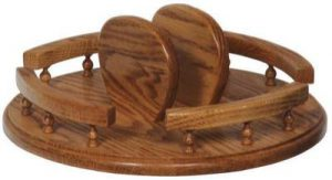 Oak Tabletop Lazy Susan with Napkin Holder