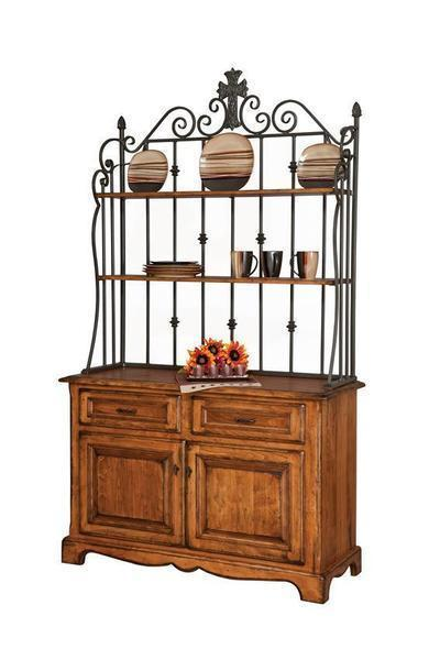 Amish Jasper French County Buffet with Bakers Rack Top