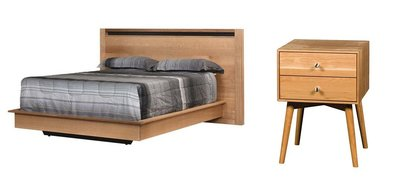The Amish Nadine Bed with Amish Hudson Nightstand
