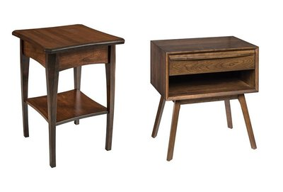 Amish Perry Night Table with Hastingwood Mid Century Modern Night Table