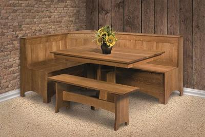 Amish Wooodside Corner Kitchen Nook Set