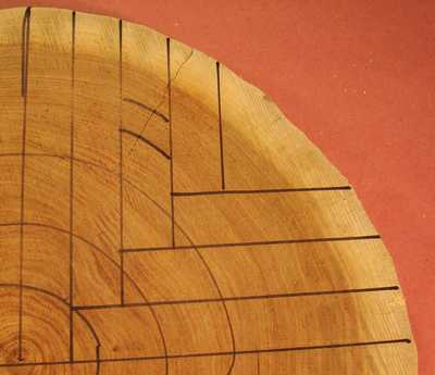 Close up of a log marked with quarter sawing cuts.