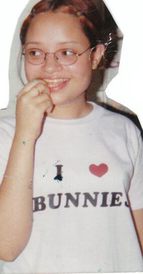 "Me wearing a shirt that says ""I Love Bunnies."""
