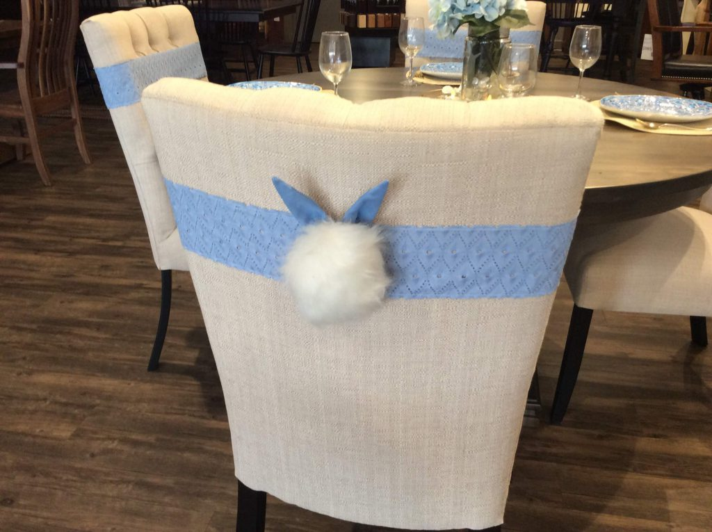 Bunny Tail Sashes on Chairs in our Sarasota Showroom