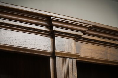Executive office furniture made with walnut wood.