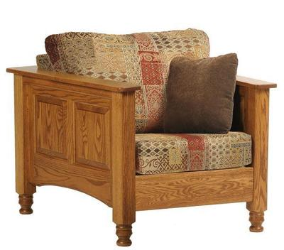 Amish Traditional Wood Trim Lounge Chair
