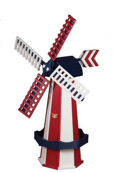Amish Made Poly Dutch Windmill Large Patriotic Colors