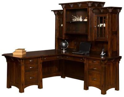 Amish Manitoba L Desk with Optional Topper