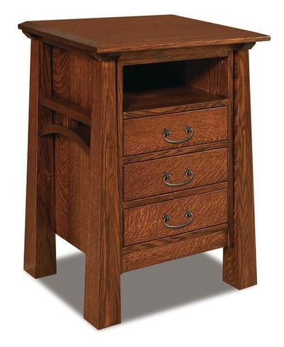 Amish Artesa Three Drawer Night Stand with Opening