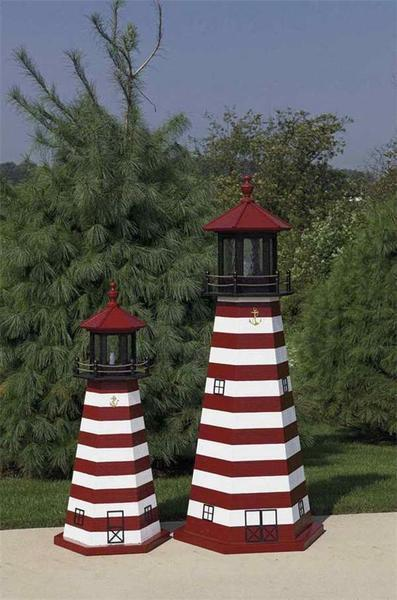 Amish Made West Quoddy Wooden Garden Lighthouse