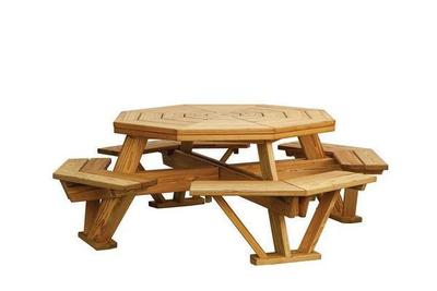 "Amish Pine Wood Octagon 52"" Picnic Table"